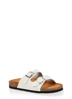 Two Buckle Footbed Sandals - WHITE - 3112073541012