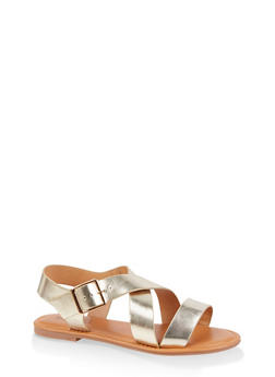 Criss Cross Strap Sandals - GOLD - 3112073541041