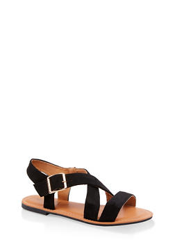 Criss Cross Strap Sandals - BLACK SUEDE - 3112073541041