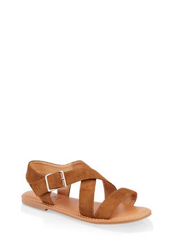 Criss Cross Strap Sandals - TAN S - 3112073541041