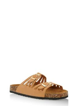 Double Strap Cork Sole Slides - 3112073541707
