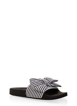 Striped Bow Slides - 3112073541863