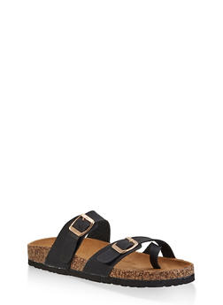 Toe Loop Flatbed Slide Sandals - BLACK - 3112073541901