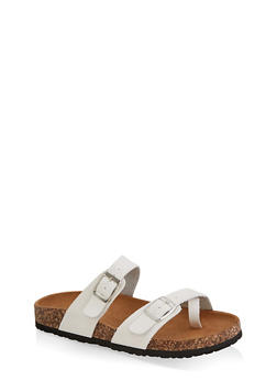 Toe Loop Flatbed Slide Sandals - WHITE - 3112073541901