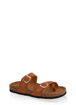 Toe Loop Flatbed Slide Sandals - TAN - 3112073541901