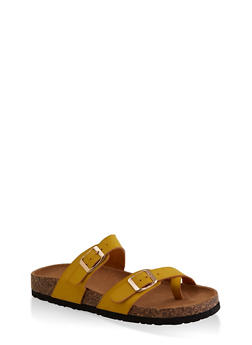 Toe Loop Flatbed Slide Sandals - YELLOW - 3112073541901