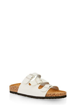 Triple Strap Footbed Sandals - WHITE - 3112073541904