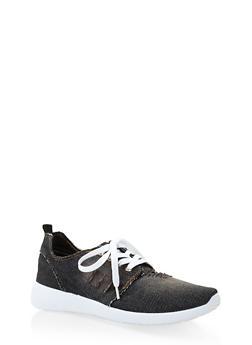 Distressed Denim Sneakers - BLACK - 3112074775222