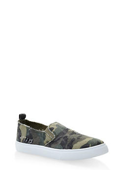 Distressed Camo Slip On Sneakers - 3112074775237