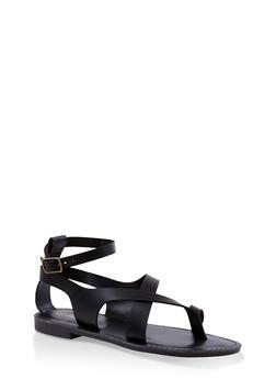 Asymmetrical Toe Ring Ankle Strap Sandals - BLACK - 3112074967571