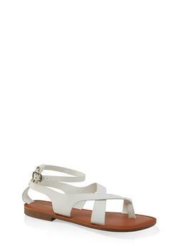 Asymmetrical Toe Ring Ankle Strap Sandals - WHITE - 3112074967571