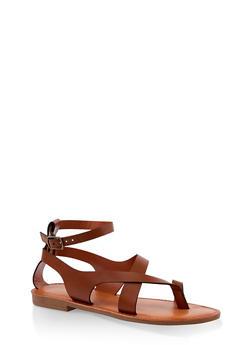 Asymmetrical Toe Ring Ankle Strap Sandals - TAN - 3112074967571