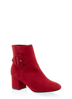 Buckle Detail Heeled Booties - 3113004062264