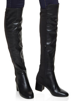 Stretch Back Over the Knee Boots - BLACK - 3113004062266