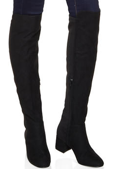 Stretch Back Over the Knee Boots - BLACK SUEDE - 3113004062266