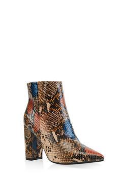 Pointed Toe Block Heel Booties - TAN - 3113004062356