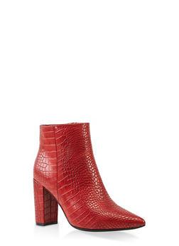 Pointed Toe Block Heel Booties - RED - 3113004062356