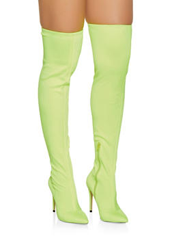 ea2ab455f4 Pointed Toe Stretch Over the Knee Boots - NEON YELLOW - 3113004064431