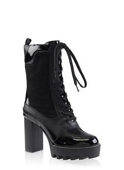 Platform Lace Up Booties - BLACK SUEDE - 3113004064686