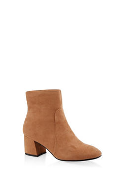 Block Heel Side Zip Booties - CAMEL - 3113004064745