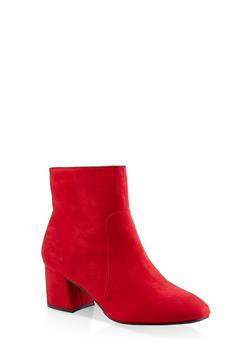 Block Heel Side Zip Booties - RED - 3113004064745