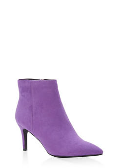 Pointed Toe Mid Heel Booties - 3113004065664