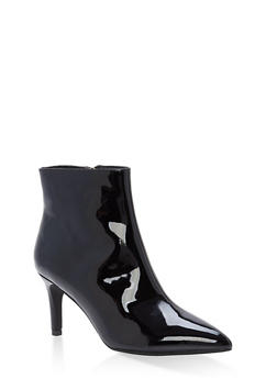 Pointed Toe Mid Heel Booties - BLACK PATENT - 3113004065664