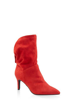 Slouchy Tabbed Booties - RED - 3113004065665