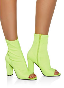 Peep Toe Stretch High Heel Booties - 3113004066271