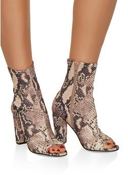 Peep Toe Stretch High Heel Booties - MULTI COLOR - 3113004066271