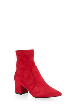 Pointed Toe Mid Block Heel Booties - 3113004067275