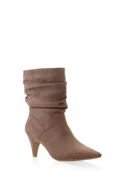 Pointed Toe Slouch Booties - TAUPE - 3113004067339