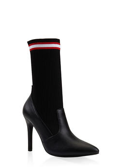 Ribbed Knit Sock Booties - BLACK - 3113004067533