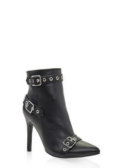 Buckle Detail Pointed Toe High Heel Booties - BLACK - 3113004067534