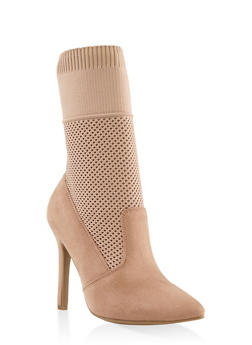 Stretch Knit High Heel Booties - BLUSH - 3113004067535