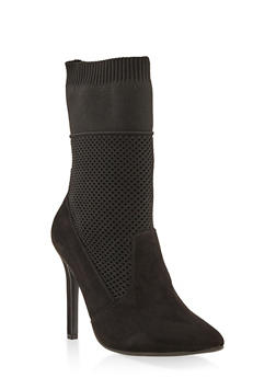 Stretch Knit High Heel Booties - BLACK SUEDE - 3113004067535