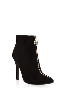 Zipper Detail High Heel Booties - 3113004067536