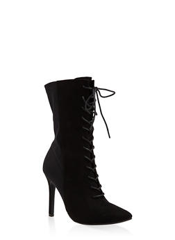 Lace Up High Heel Booties - 3113004067537