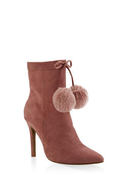Pom Pom High Heel Booties - BLUSH - 3113004067539