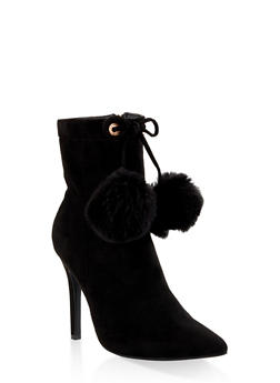 Pom Pom High Heel Booties - BLACK SUEDE - 3113004067539
