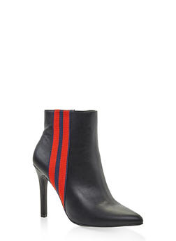 Striped Tape Detail Booties - BLACK - 3113004067540