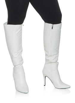 Faux Leather High Heel Over the Knee Boots - WHITE - 3113004067541