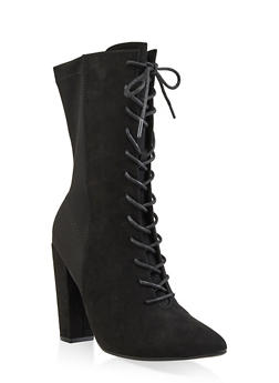 Lace Up Pointed High Heel Booties - 3113004067763