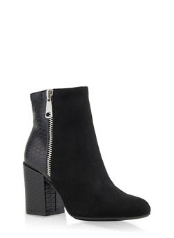 Back Detail Double Zip Booties - 3113004068489