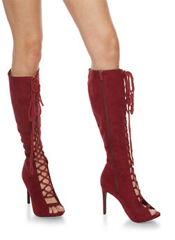 Lace Up Open Toe High Heel Boots - 3113004068788