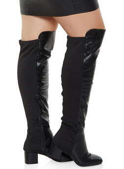 Over the Knee Block Heel Wide Calf Boots - BLACK - 3113004069266