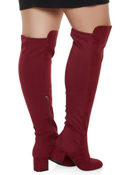 Over the Knee Block Heel Wide Calf Boots - WINE - 3113004069266