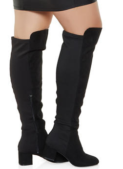 Over the Knee Block Heel Wide Calf Boots - BLACK SUEDE - 3113004069266