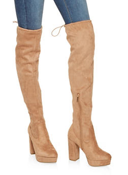 Over the Knee Platform Boots - CAMEL - 3113014062666