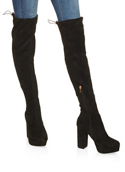 Over the Knee Platform Boots - BLACK SUEDE - 3113014062666